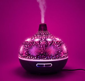 Wholesale 3D Realistic Fireworks Aroma Essential Oil Diffuser Air Ultrasonic Humidifier for Home Aromatherapy Fogger Mist Maker with Light