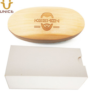 50pcs lot Customized LOGO Wood Beard Brush in White Gift Box Natural Boar Bristle Brush Wooden Handle Men's Grooming