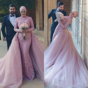 2018 Middle East Muslim Long Sleeves Formal Evening Dresses Pakistan Lace Applique With Removable Train Beading Sequin Party Prom Gowns on Sale