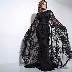 Dubai Black Sheath Evening Dresses Cape Satin Abaya Kaftan Formal Party Gowns Real Appliques Lace Evening Prom Dress Elegant Long Caftan