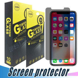 Wholesale For iPhone X Xr Xs Max S Plus Privacy Tempered Glass Anti Spy Screen Protector With Retail Package
