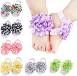 Wholesale 10 pairs Baby Foot Flower Wristband Barefoot Sandals Folds Chiffon Flower Socks Cover Barefoot Per H091