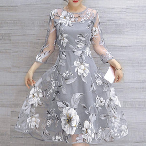 Wholesale Women s Summer Hollow out Dress Organza Floral Print Party Mini Dresses Female Sexy Sundress Vestidos De Festa Curto