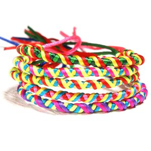 Wholesale HOBBORN Trendy Ethic Weaving Women Bracelet Handmade Rainbow Rope DIY Adjustable Lucky Girls Friendship Bracelets Jewelry Cruz