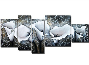 Wholesale painted lines resale online - Hand painted Abstract White Flower Oil Painting Handmade Graffiti Line Floral Paintings Piece Picture Wall Canvas Art Set