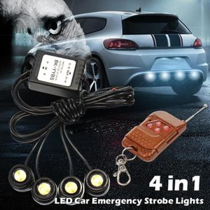 1set 12V 4in1 LED Car Emergency Strobe Lights DRL Wireless Remote Control Car Accessories wireless light Hawk remote control