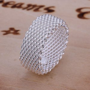 Wholesale Free Shipping wholesale fashion jewelry Silver Ring Fine Fashion Net Ring Women&Men Gift Finger Rings