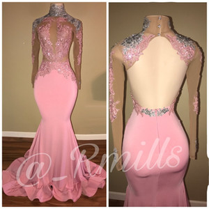 New High Neck Pink Prom Dresses Long Silver Appliques Sheer Long Sleeves Backless Mermaid Evening Dresses Wear Sweep Train on Sale