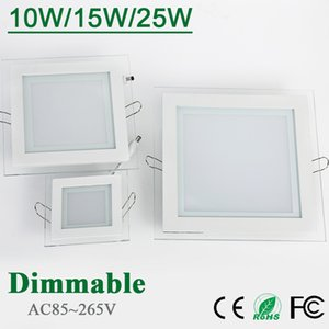 Wholesale 10W W W Glasses Led Square Panel Recessed Wall Ceiling Downlight AC85 V White Cool White Indoor Light