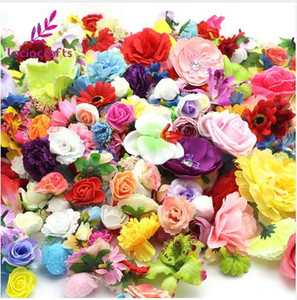 Lucia crafts 50g lot,Approx 35pcs Random Mixed Color Size Artificial Flower Head Wedding Party DIY Decoration Supplies 027017072