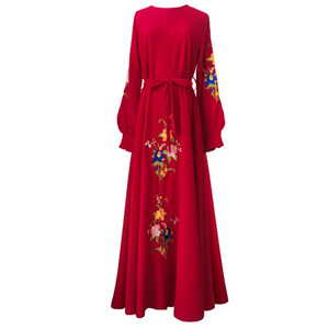 Wholesale Floral Embroidery Islam Dress Noble Long Sleeve Muslim Women Maxi Dress Elegant A line Big Swing Muslimic Evening