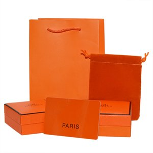 High quality Jewelry Orange packaging Boxes set H brand Bracelet Necklace Gift Box paper bags Card and small bags