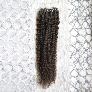 Human Hair Extensions Kinky Curly Micro Loop Ring Hair Extensions 100g 1g s 100s Remy Micro Bead Hair Extensions Darkest Brown