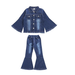 Wholesale New Fashion Big Girls Sets Denim Kids Clothing Spring Autumn Flare Sleeve Top Flare Jeans Children Outfits
