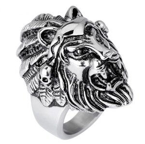 Wholesale stainless steel lion head ring for sale - Group buy Stainless Steel Lion Head Rings For Men Allergy Free Punk Rock Jewelry Non Mainstream Cool Mens Biker Rings Party Accessory