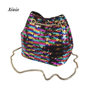 Wholesale 2018 New Women Messenger Bag Girl Fashion Bling Sequins Shoulder Drawstring Bag Female New Designer Bucket bolsa feminina