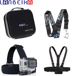 wholesale For Gopro Hard Bag Case Box + Camera Straps Hanging Rope + Chest Strap + Head Strap for Go Pro Hero 6 5 4 3+ SJCAM SJ6