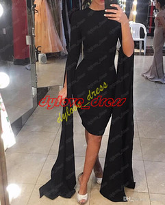 Wholesale coctail dresses for sale - Group buy 2021 sexy cheap elegant plus size arabic black short evening gown long sleeves prom coctail dress