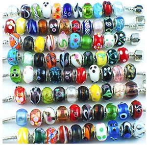 Wholesale Silver Color Murano Glass Beads Fit European Charm Bracelet Spacer And Jewelry Making by 50pcs Mix