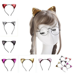 Girl XMAS headband handmade sequin cat fox ear headbands headpiece HEN party Cosplay costume hairband halloween accessory kid adult hair bow