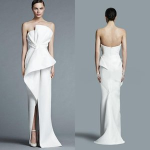 Unique Strapless White Evening Gowns 2018 Floor Length Fashion With Pleats Middle Split Women Formal Party Prom Dress on Sale