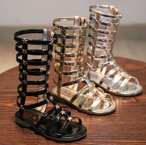 2018 Summer Girls High Boots Rome Shoes Rivets Sandals Fashion Kids Cutout Sandals For Girl Zip Gladiator Toddler Baby Sandals Shoes