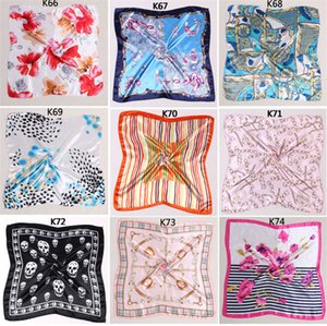Wholesale Newest Women Girls Korean Style Hotel Waiter Flight Attendants Business Printing Square Imitate Silk Scarf x50cm free DHL