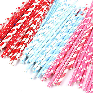drinking paper straws for kids birthday party wedding christmas decoration chevron drinking paper straws Multi Colors
