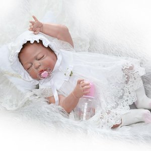 55CM full Silicone Reborn Baby Dolls Vinyl Toys sleepping Dolls For Girls 0-7 Years Old Baby With White dress