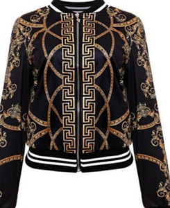 2018 fashion hot style European and American positioning female print jacket, black and white two colors wholesale on Sale