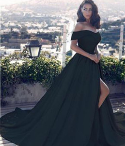 2018 New Sexy Black A Line Off The Shoulder Evening Dresses Side Split Prom Dress Satin Long Vestido Special Occasion Evening Gowns Arabic on Sale