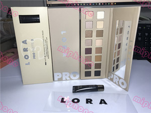 Real shot ! LORA PRO 3 PALETTE 16 color shimmer & matte eye shadow Palette +mini behind the scenes eye primer DHL shipping