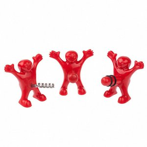 Wholesale 200pc Kitchen Bar tool Red Happy Man Bottle Opener Wine Corks Red Bottle Stoppers Beer Wine Champagne bottle opener wn202C