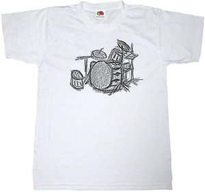 Wholesale DRUM KIT T SHIRT COTTON MUSIC DRUMMER HEAVY ROCK METAL SKETCH ART T SHIRT Tee T Shirt NEW ARRIVAL