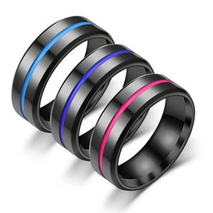 Men Rings Titanium Steel Ring For Men Gifts New Arrival Fashion Simple 3 Colors Stripe Rings