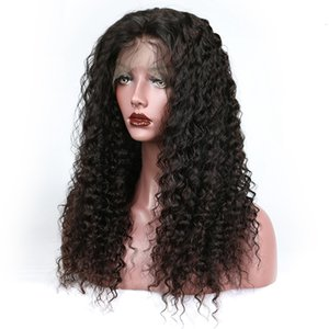 Wholesale Human Hair Front Lace Wig inch Brazilian Virgin Remy Human Hair Wigs Afro Kinky Curly Wig Full Lace Wigs For Black Woman