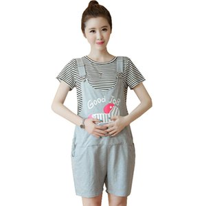 Wholesale Cartoon Maternity Tops Shorts Suit Sets For Pregnant Women Clothes Overalls Braced Straps Shorts Pregnancy Bibs Suspenders