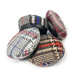 Wholesale Fall Winter Hat Beret Female Woolen Plaid Leather Side Newspaper Hat Fashion Casual Outdoor Travel Berets