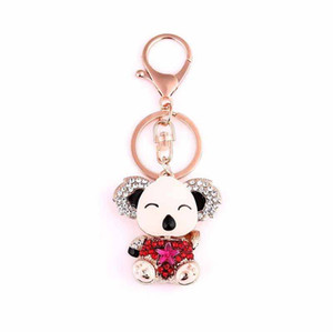 Wholesale 2017 fashion Crystal oil drip Key rings key Chain women jewelry Cute teddy bear For Lovely Car Key chain