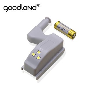 Wholesale Goodland LED Night Light Automatic Sensor Light Wardrobe Cabinet Inner Hinge Lamp With Battery For Cupboard Closet Kitchen