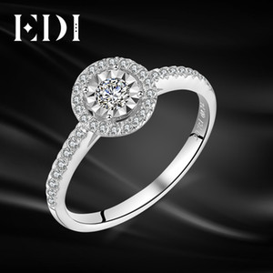 Wholesale EDI Trendy Halo 0.34cttw Real Natural Diamond 14k 585 White Gold Engagement Ring Wedding Bands For Women Fine Jewelry S923