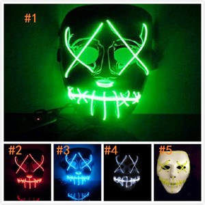 Wholesale DHL LED Light Mask Funny Mask from The Purge Election Year Great for Festival Cosplay Halloween Costume New Year Cosplay white mask