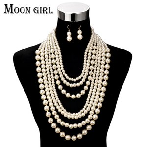 Wholesale Fashion Pearl jewelry display choker big statement necklace Multilayer Simulated Pearl long necklace women accessories