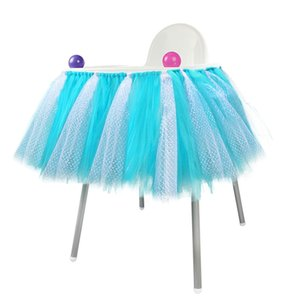 Pink Blue Baby Shower Boy Party Set Tutu Tull Skirt For High Chair Baby Shower Decorations For A Girl 1st Birthday Decoration New Design