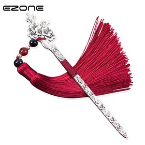 Wholesale EZONE Chinese Style Vintage Antique Metal Bookmark Handmade Weave Long Tassel Beads Traditional Book Mark School Office Supplies
