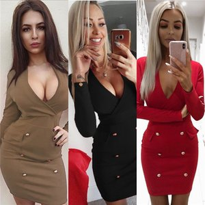 Wholesale Double Breasted Bodycon Dress Women Slim Fit Pencil Dresses Sexy V Neck Long Sleeve Club Party Dress Elegant Autumn Vestidos