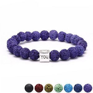 Wholesale Square Heart LOVE U Colorful volcanic Lava Stone Beads Bracelet DIY Aromatherapy Essential Oil Diffuser Bracelet Jewelry