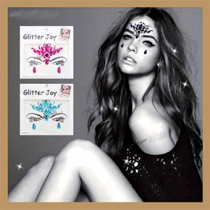 Wholesale Fun Creative Shiny Crystal Face Tattoo Sticker For Party Decoration Props Masquerade Music Festival Useful Fashion Women Stickers yja Z