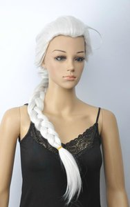 Wholesale Hot Sell White Long Straight Pigtail Ponytail Women s Lady s Hair Wig Wigs
