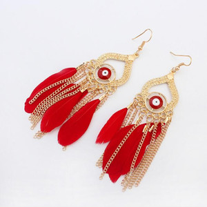 Wholesale Devil s Eye Beads Metal Charm Earrings K Gold Plated Women Chic Chains Pendant Red Feather Earrings PRS